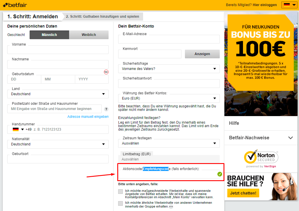 betfair aktionscode